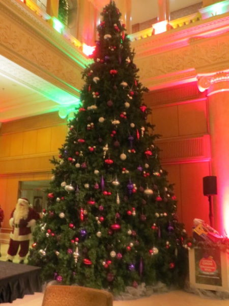 Christmas tree in the lobby of Omni King Edward Hotel in Toronto