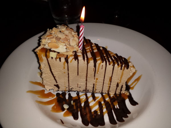 Billy Miner Pie made from mocha Ice cream on chocolate crust with hot fudge caramel and almonds at The Keg Mansion