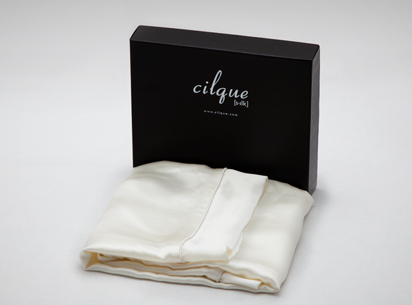 Lustrous silk pillowcases in Creme Brulee from Cilque