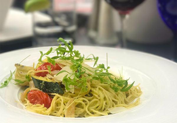 Macadamia & Spinach Pesto Capellini with cipollini, grape tomatoes, zucchini and parmesan at Summerlicious at Azure Restaurant