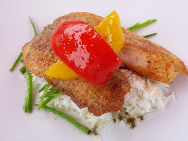 Breaded Tilapia with rice and vegetables at The Briars