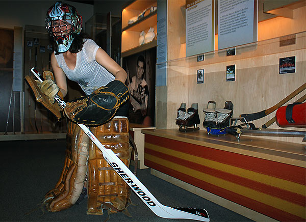 Diana plays hockey at the Museum of Canadian History