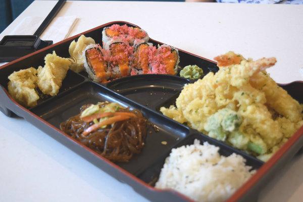 Bento Box with Tempura Shrimp and Spicy Salmon Rolls at Kibo Sushi