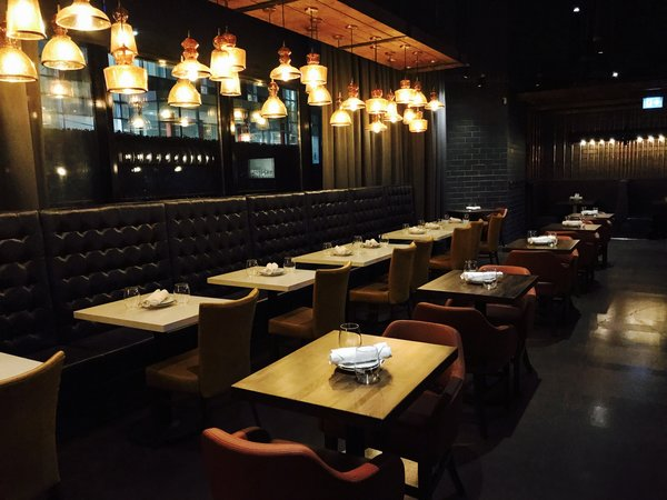 Dining area at Kelly's Landing at 123 Front Street West, Toronto