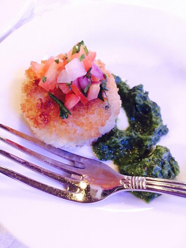 Scallion Risotto Cake at Eva's Taste Matters at the Liberty Grand