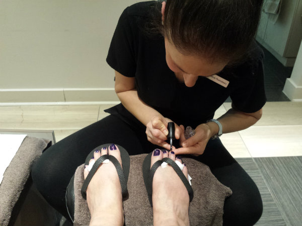 Cristina gave me a spa manicure and spa pedicure with OPI nail polish Turn On the Northern Lights