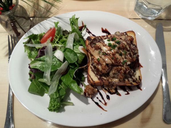 Tartine with Wild and Tame Mushrooms butternut squash, crumbled chevre, balsamic reduction, mixed greens at Brickyard Bistro