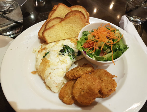 Egg White Spinach and Feta Omelette at Green Eggplant Mediterranean Grill in the Beaches
