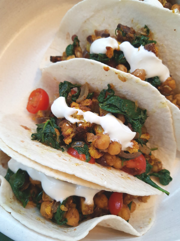 Curried Cauliflower, Chickpeas, Sweet Potato and Spinach Tacos