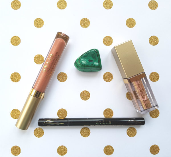 Stila Stay All Day Shimmer Liquid Lipstick in Illuminaire Shimmer, Glitter and Glow Liquid Eyeshadow in Wanderlust and Stay All Day Waterproof Liquid Eye Liner