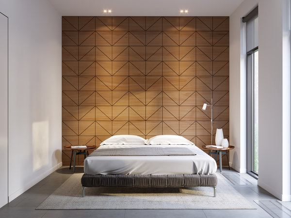 Textured gypsum wall panels create an exotic accent wall in this minimalist bedroom.