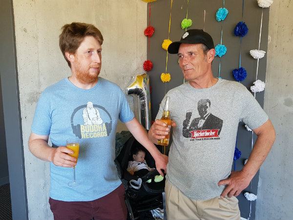 These dads are wearing Buddha Records and Knickerbocker beer Headstone Brand tees in size medium