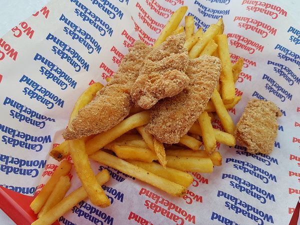 Chicken tenders with fries at Thrill Burger in Medieval Faire at Canada's Wonderland
