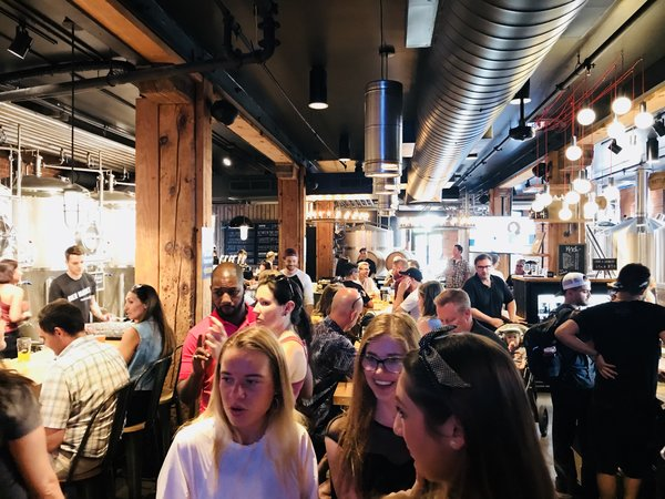 Guests at the Goose Island Brewhouse anniversary party
