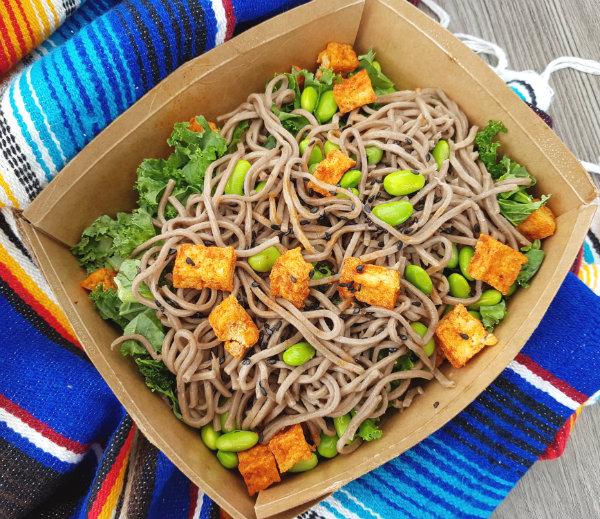 Teriyaki Tofu, Noodles and Greens at Vista Eatery at Ontario Place
