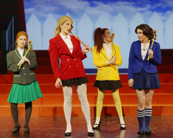 Paige Foskett as Heather Duke, Mary Bowden as Heather Chandler, Becka Jay as Heather McNamara, Emma Sangalli as Veronica Sawyer in Heathers: The Musical at Hart House Theatre, photo credit Scott Gorman
