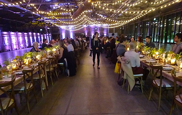 Gorgeous table setting and ambiance at Aeroplan Plant Based Dinner at Evergreen Brick Works.
