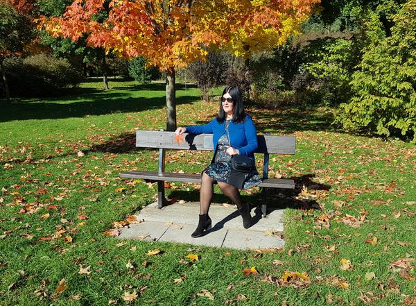 Enjoying the fall colour at Rosetta McClain Gardens in Toronto