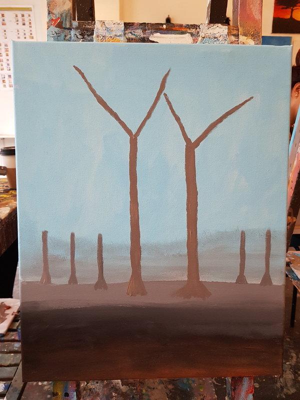 "Halfway through painting ""Hello Autumn"" at Paintlounge Toronto East location."
