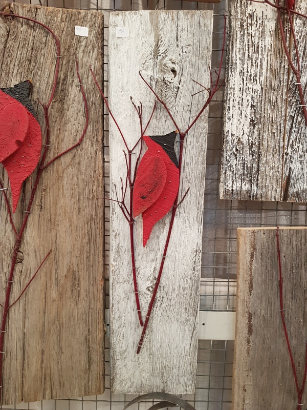 Cardinal on reclaimed wood from The Saltbox Shoppe