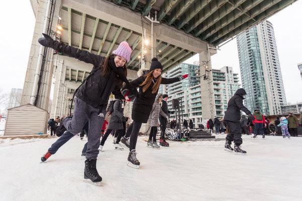 The Bentway outdoor skating rink in Toronto