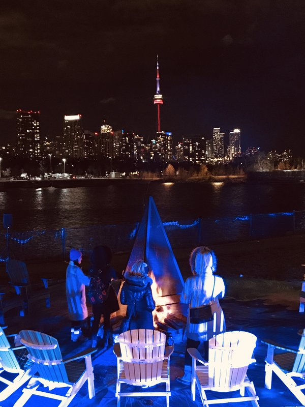 Fire Pit with CN Tower at Aurora Winter Festival