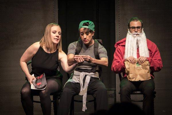 Natalie Metcalfe, Jillian Welsh, Matt Folliott in It's a Wild, Rowdy, Wonderful Life by Second City Toronto, photo credit Paul Aihoshi