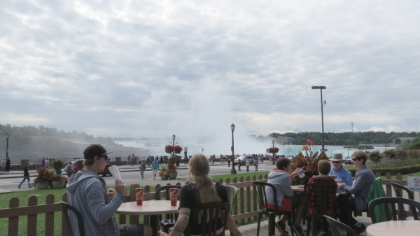 View of Horseshoe Falls from Tim Horton's patio on Niagara Parkway