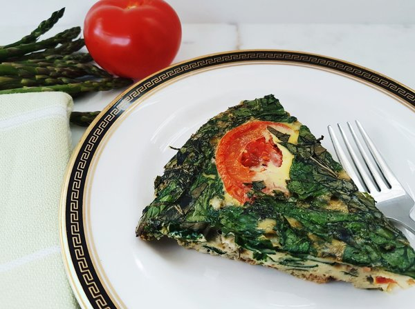 Roasted Asparagus and Spinach Frittata is bursting with flavour.