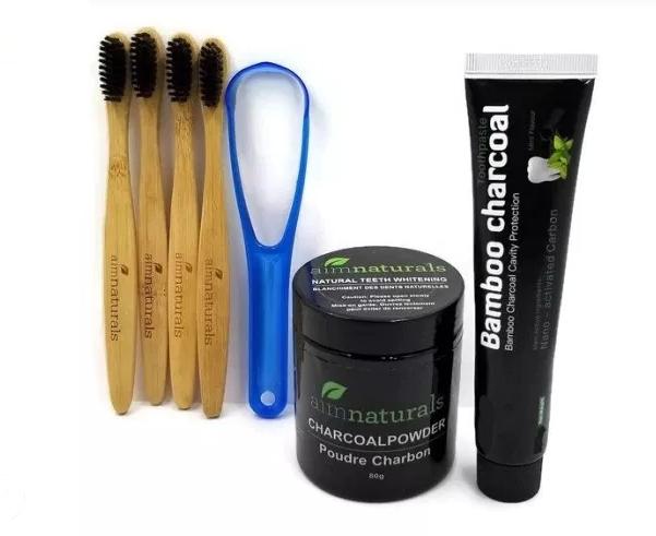 Aim Naturals Premium Teeth Whitening Charcoal Kit