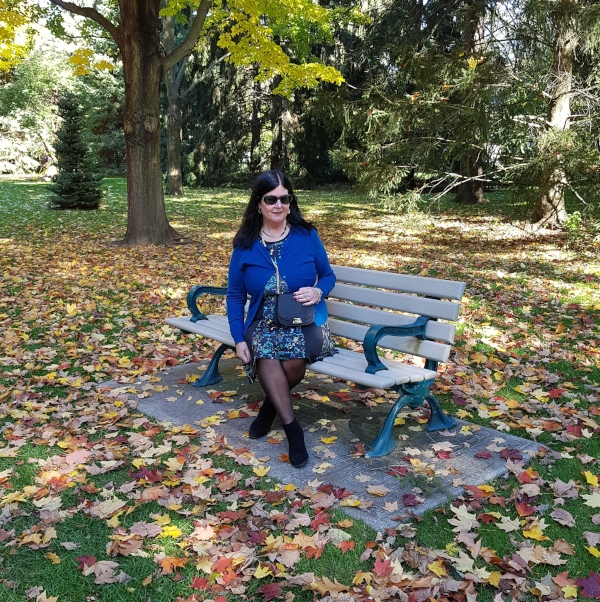 Me wearing my blue sweater from Coach Outlet at Rosetta McClain Gardens