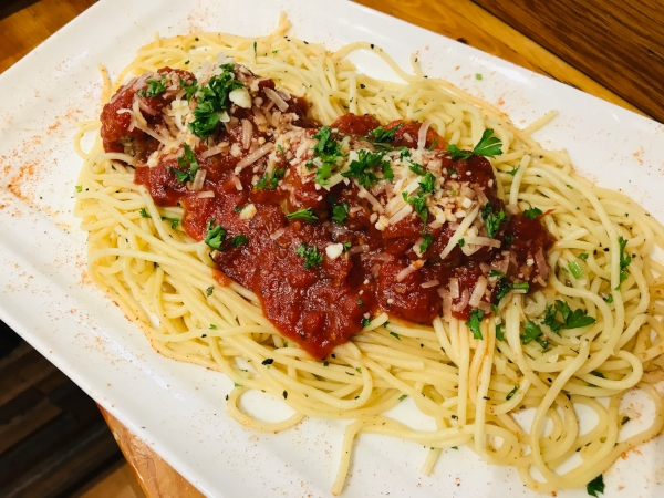 Spaghetti and meatballs with Marinara sauce at My Meatball Place