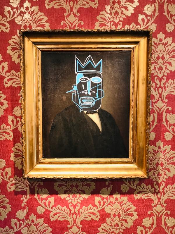 Basquiat inspired piece at Mr. Brainwash exhibit at Taglialatella Gallery