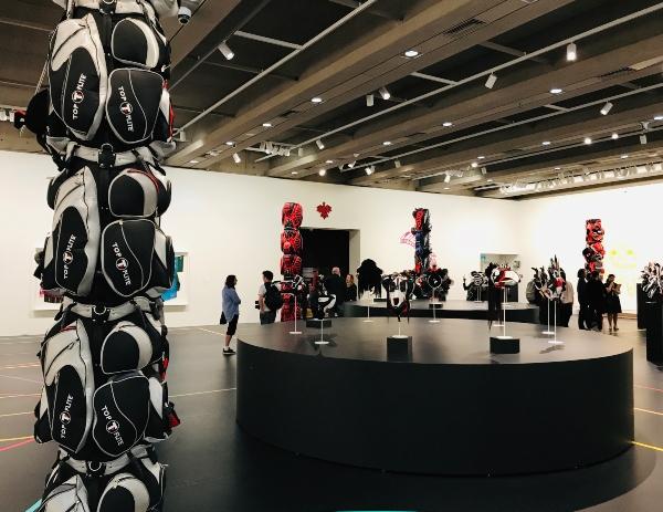 Crowd at Brian Jungen exhibit at Art Gallery of Ontario