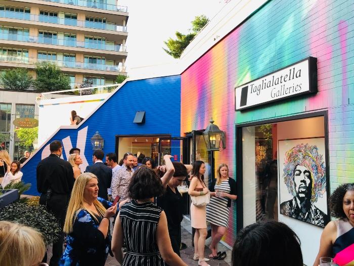 Gallery patio at Mr. Brainwash at Taglialatella Galleries in Toronto.