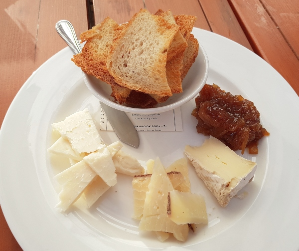 A selection of local cheeses from Monforte at Maple Leaf Tavern patio.
