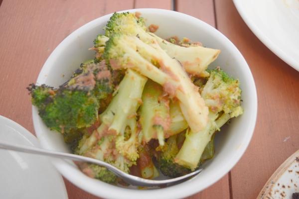 Chili and Garlic Broccoli at Maple Leaf Tavern patio in Toronto