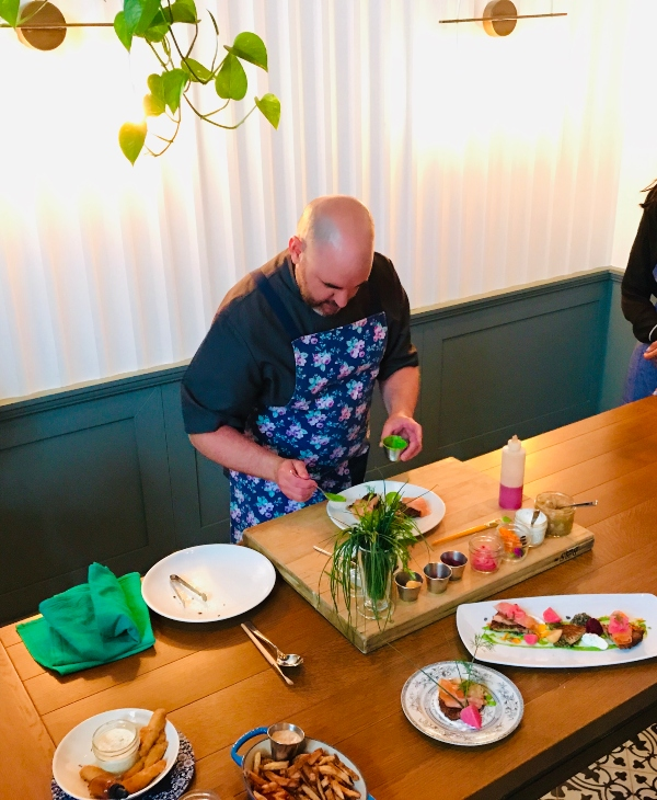 Instructional lesson by Executive Chef Lanny MacLeod at Victor Restaurant Plate Night