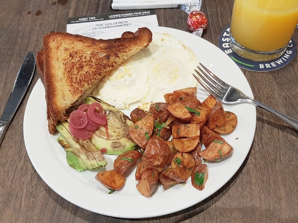 The Eastbound Standard includes two eggs, grilled avocado or bacon, brioche toast and breakfast potatoes.