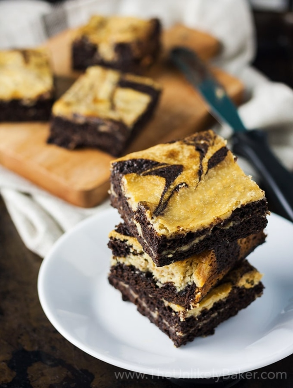 Salted Caramel Cream Cheese Brownies from The Unlikely Baker