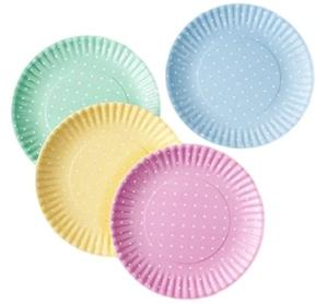 Pastel Polka Dot Picnic Dinner Plate 9 Inch Melamine Set of 4 Pink Blue Yellow Green