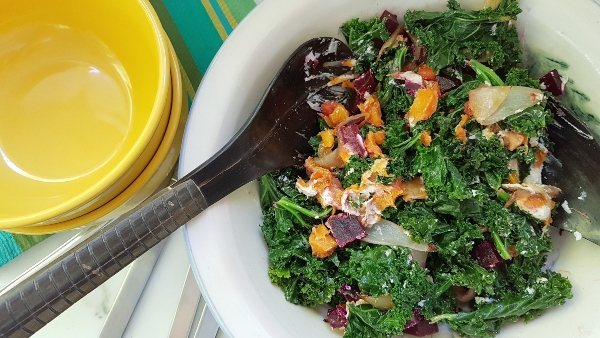 Kale Salad with Roasted Butternut Squash, Beets and Goat Cheese