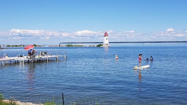 Dock and waterfront at Ramada Jackson's Point. Ontario