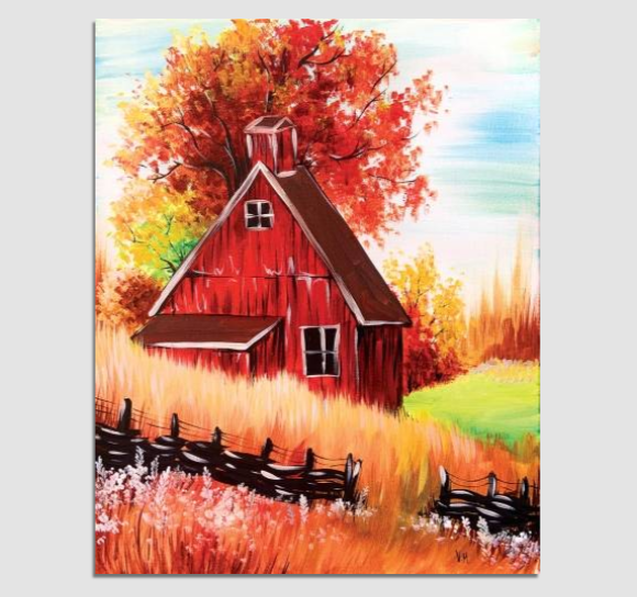 Red Autumn Barn at Paint Nite