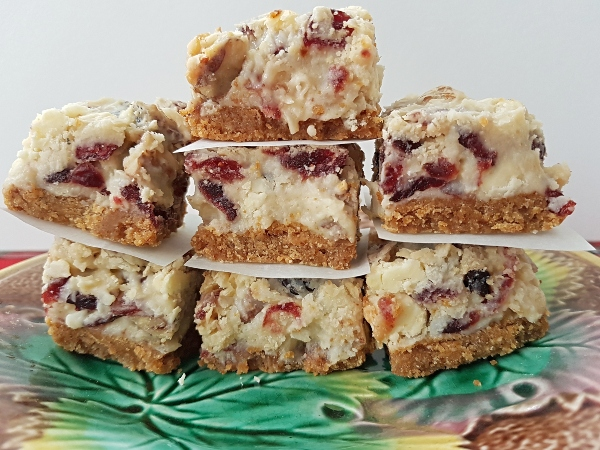 Cranberry White Chocolate Bars are an easy Christmas bar cookie to make.
