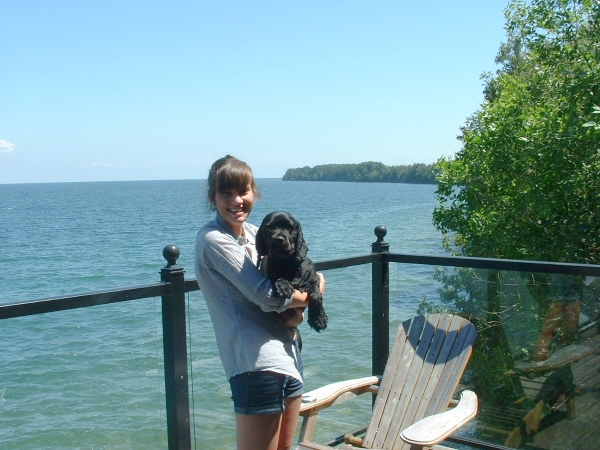 Riley just before he ran down a cliff and jumped into Lake Ontario.