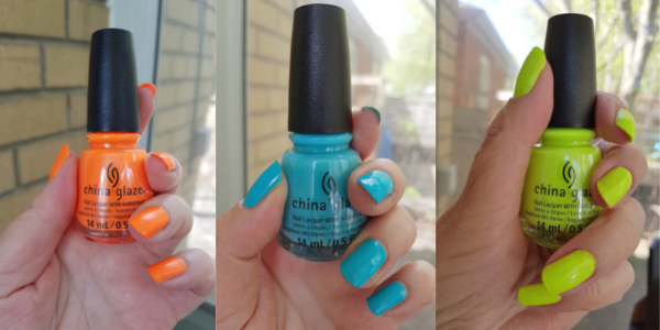 From left to right, Takes Two to Mango; Cuba Diving; and Tropic Like It's Hot from China Glaze Havana Nights Collection.