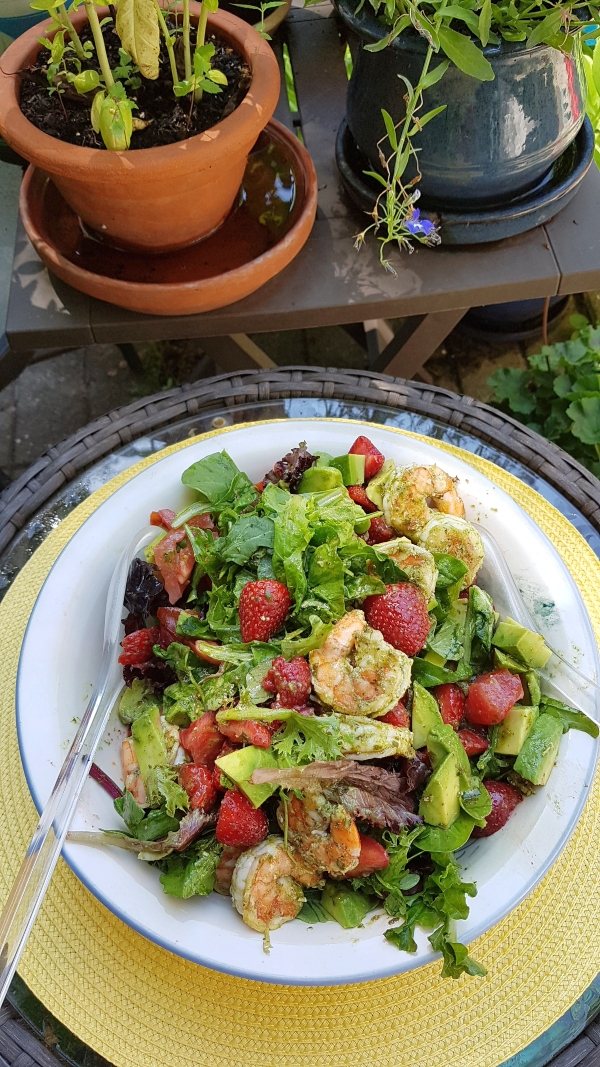 Marinating the shrimp for 24 hours in the basil vinaigrette makes this Shrimp, Avocado and Strawberry Salad special.
