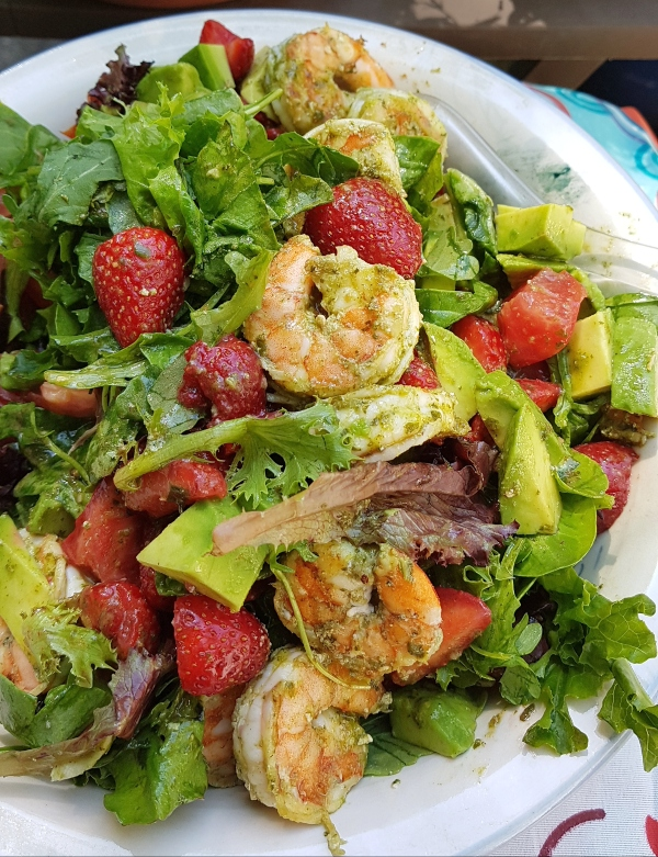 Shrimp, Avocado and Strawberry Salad with Basil Vinaigrette makes an elegant, summer salad.
