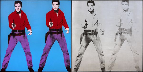 Andy Warhol. Elvis I and II, 1964. Silkscreen ink and spray paint (silver canvas); silkscreen ink and acrylic (blue canvas) on linen, Framed (overall): 213.5 × 422 cm. Gift from the Women's Committee Fund, 1966. © The Andy Warhol Foundation for the Visual Arts, Inc. / SOCAN (2021)
